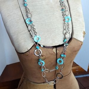Ruby Rd silver, turquoise and garnet long necklace